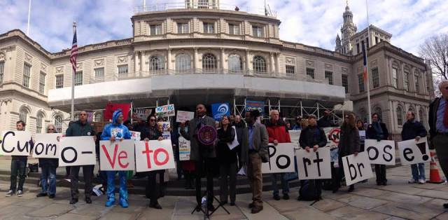 Fracktivists mobilized outside of City Hall prior to City Council Hearing