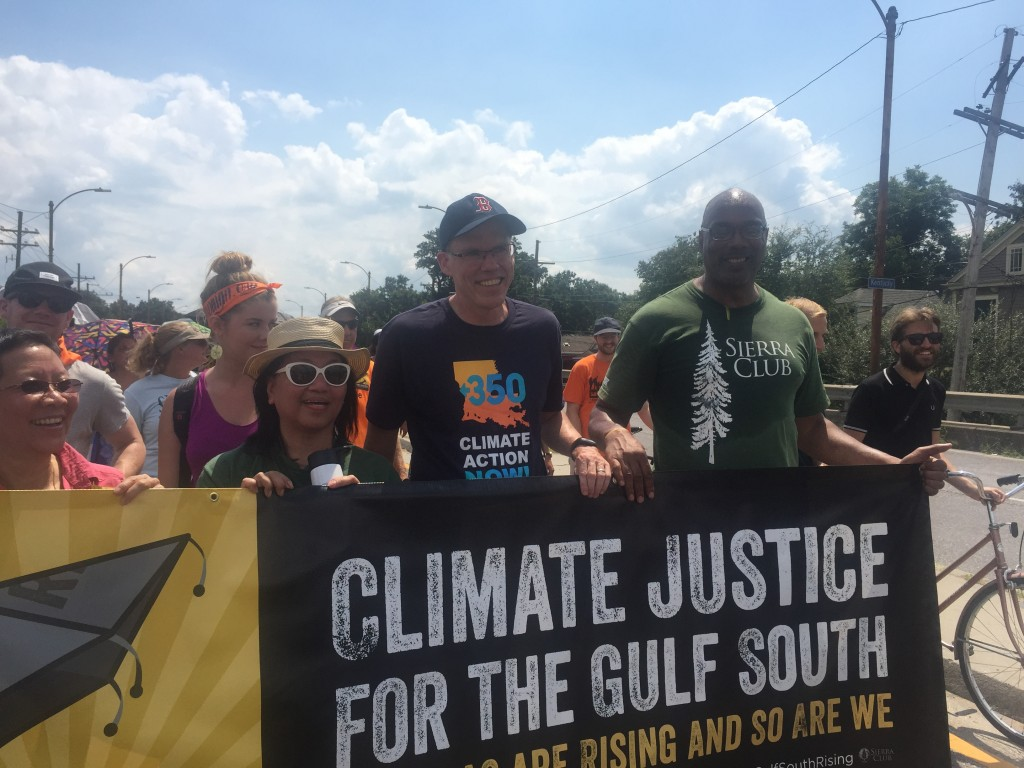 Bill McKibben of 350.0rg and Aaron Mair of Sierra Club Marching in New Orleans